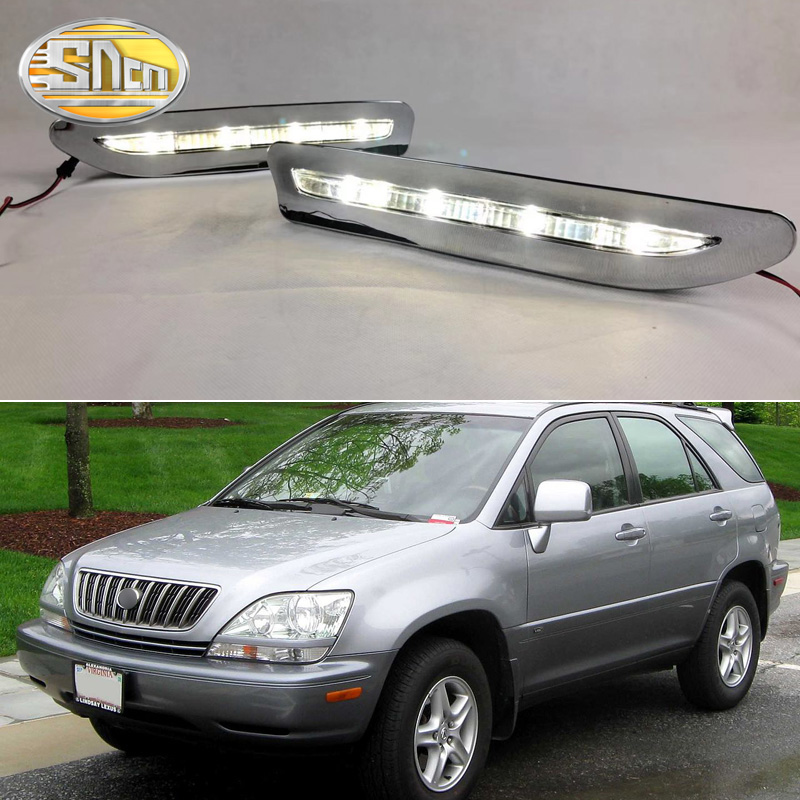 2PCS For Lexus RX300 RX330 RX350 1999 2000 Chromed Strip Waterproof ABS Car DRL Lamp 12V LED Daytime Running Light Daylight