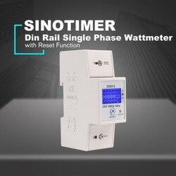 230V na szynę Din jednofazowy watomierz pobór mocy Watt elektroniczny licznik energii AC z funkcja resetowania DDS015 w Liczniki energii od Narzędzia na