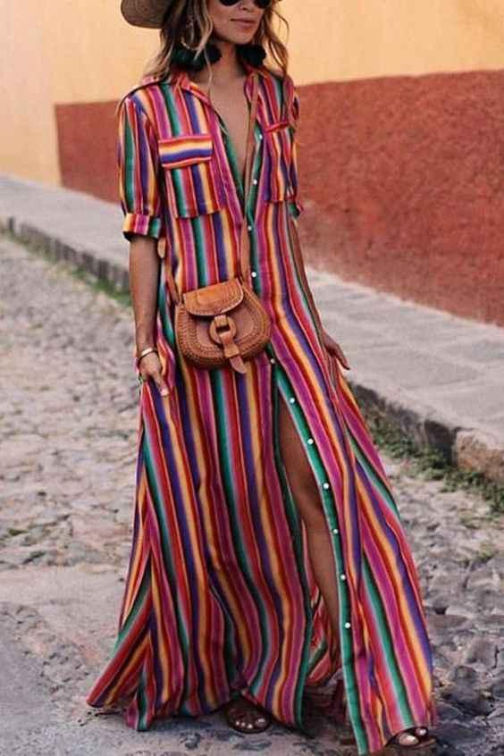 2019 Plus Kích Thước Đường Băng Đầm Mùa Hè Nữ Maxi Đầm Bohemian BOHO Nữ Tay Ngắn Bãi Biển Rainbow Áo Sọc Đầm