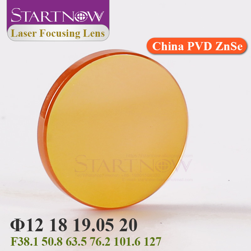 Startnow CO2 Laser Focus Lens China PVD ZnSe 12 18mm 19.05 20 Mm F38.1 50.8 63.5 76.2 101.6 1.5