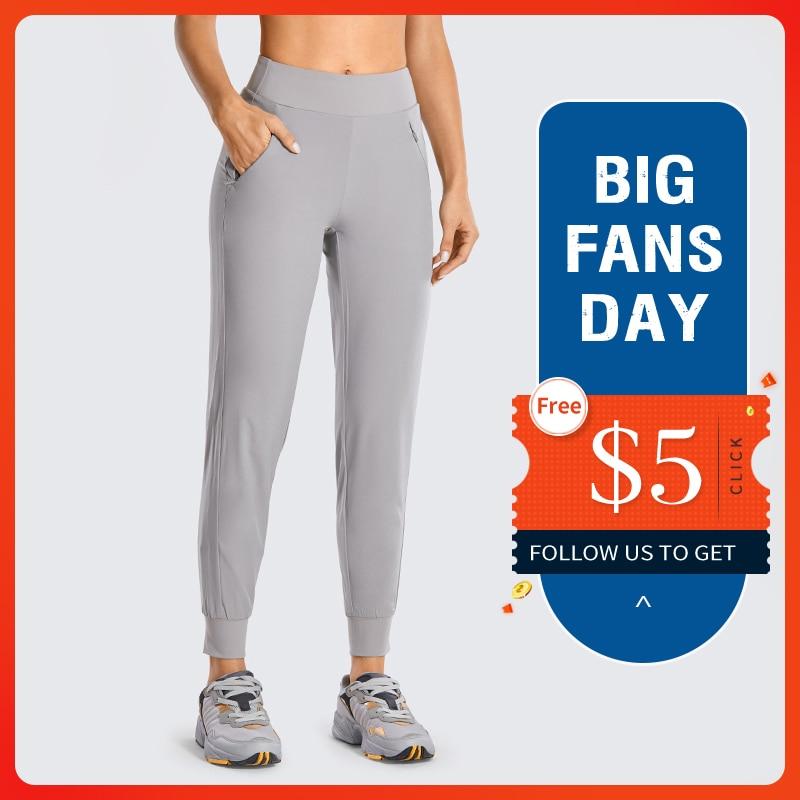 CRZ YOGA Women's Double Layer Jogger Sweatpants With Zipper Pockets Warm Stretchy Comfy Lounge Pants Elastic Waist