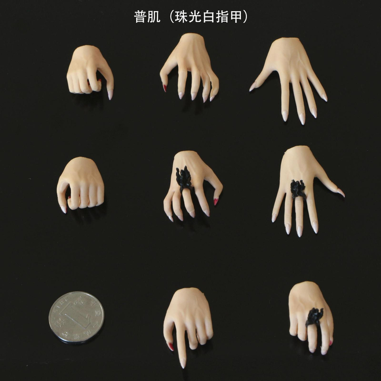 "6 PC Custom 1//6 Scale Wheat color black nails hand For 12/"" PH Female Figure"