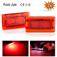 2pcs Red Lights LED Car Door Warning Light Upgrade Kit Compatible with Tesla Model S & X Replacement, No Drilling