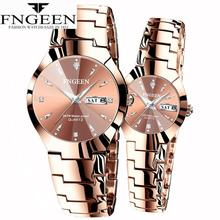 FNGEEN Couple Watch Men Quartz Wristwatch for Lovers Christmas Stainless Steel L
