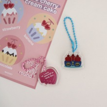 Korean Ins Cherry Love Cake Acrylic Pendant Cartoon Cute Key Chain Airpods Pencil Bag Diy Decorative Accessories Key Management
