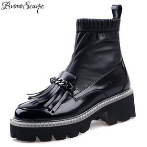 Image 1 - Buono Scarpe Metal Chains Women Ankle Boots Elastic Tassels Short Boots Platform Black Punk Shoes Mujer Ladies Socks Boots 2019