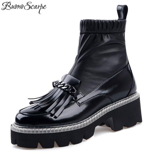 Buono Scarpe Metal Chains Women Ankle Boots Elastic Tassels Short Boots Platform Black Punk Shoes Mujer Ladies Socks Boots 2019