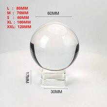 Chiaro 60mm/70mm/80mm/100mm/120mm Sfera di Cristallo con Il Basamento Libero k9 Sfera Di Cristallo di Vetro per la Fotografia Prop