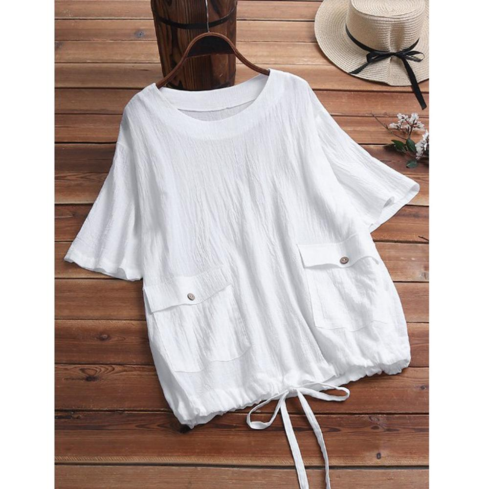 YOUYEDIAN Womens Tops And Blouses Plus Size Summer Fashion Ladies Solid With Pocket Tunic Shirt Short Sleeve O-Neck Blouse Tops
