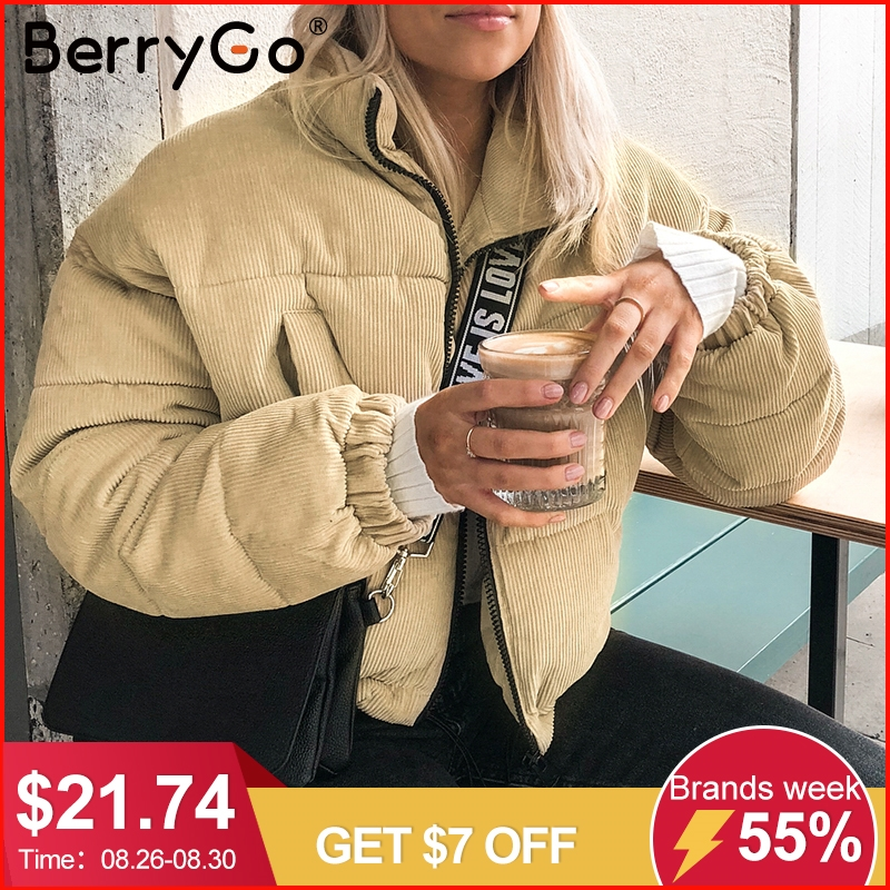 Berrygo Jacket Coat Outerwear Thick Parka Warm Female Khaki Corduroy Fashion Winter Casual