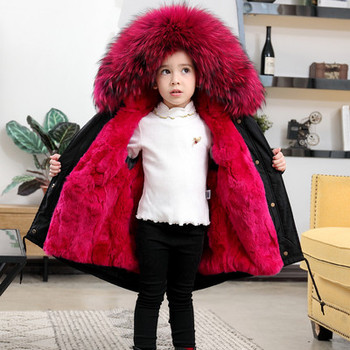 Winter Girls Faux Fur Coat Fur Collar Hooded Unisex Winter Jackets Rabbit Fur Children Long Coat Warm Thicken Boys Outerwear фото