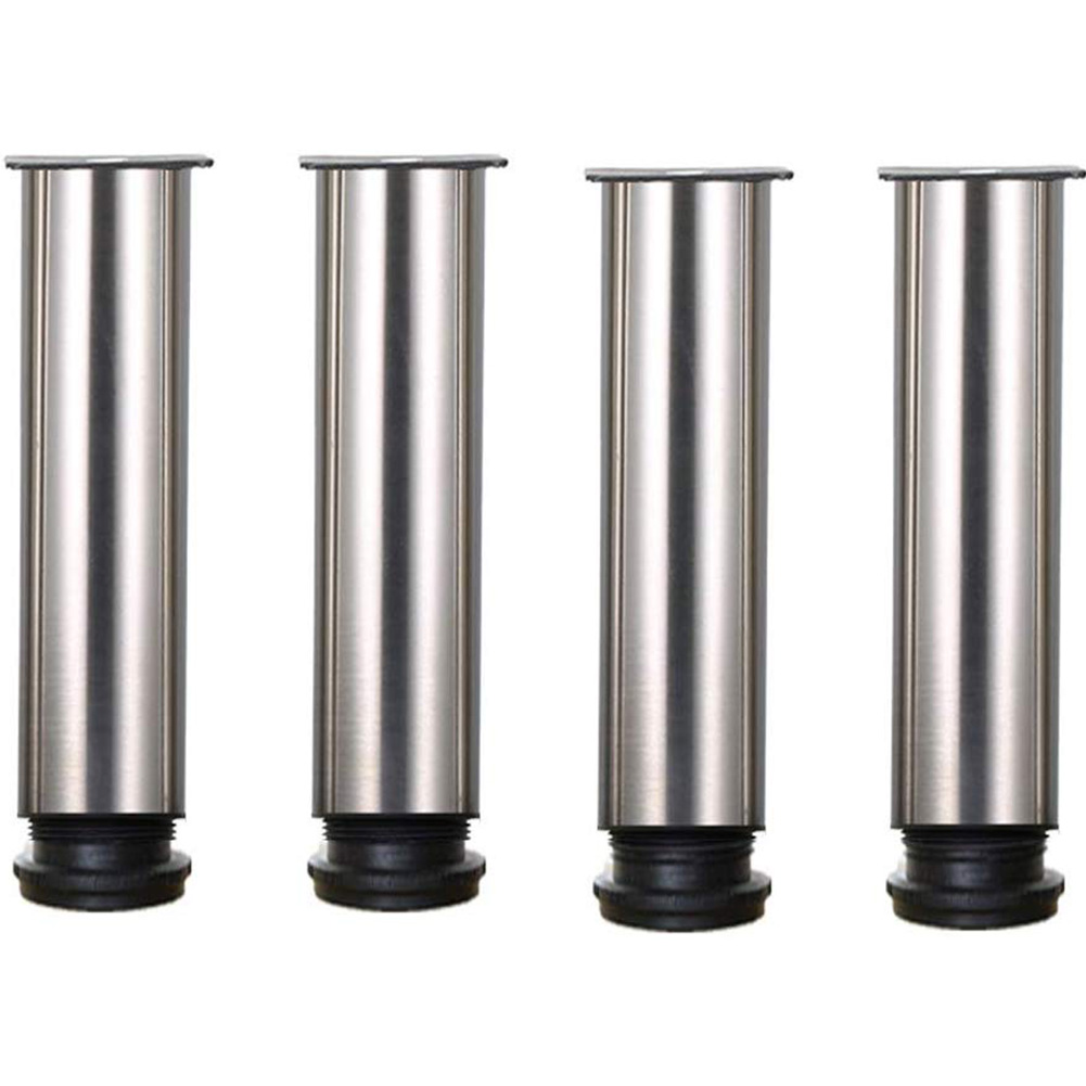 4pcs Solid Stainless Steel Sofa Cabinet Table Feet Kitchen Worktop Bar Round House Bed Foot Heavy Duty Adjustable Furniture Legs