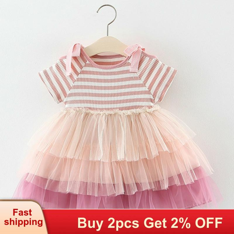 Girls Dresses Summer Cupcake Striped Bow-Sleeve Dresses Baby Clothing Girl Birthday Dress Newborn Baby Princess For Girls Dress