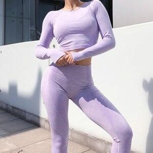 Image 2 - Rooftrellenฤดูร้อนใหม่สำหรับสุภาพสตรีชุด 2 ชิ้นชุดกีฬาสวมใส่Seamlessฟิตเนสชุดสีออกกำลังกายสบายๆ