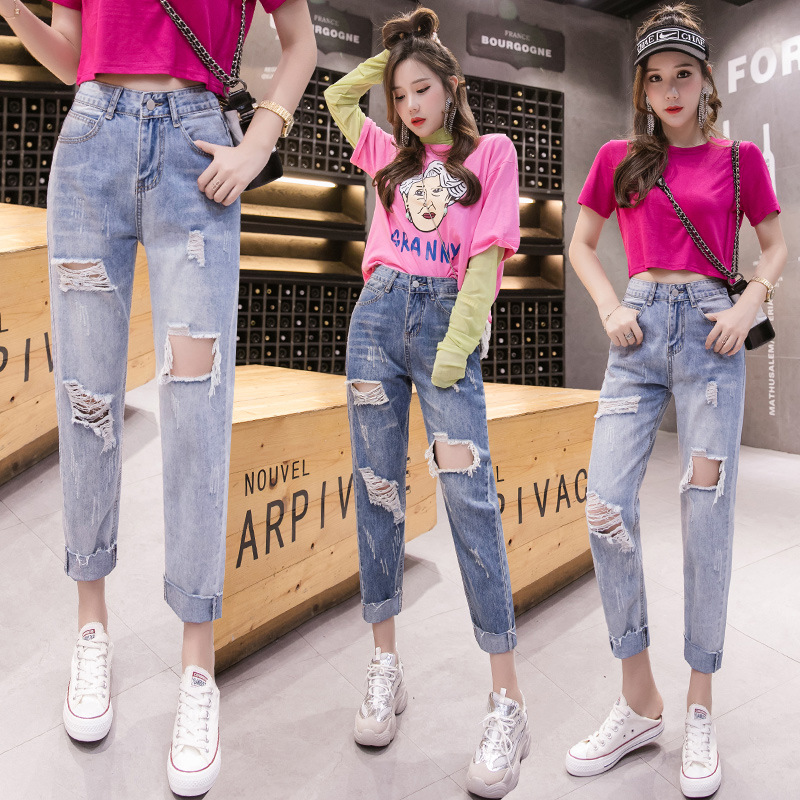 Thin 2019 Summer New Style Hyuna With Holes Jeans Women's Korean-style High-waisted Loose-Fit Capri Dad Radish Straight-leg Pant