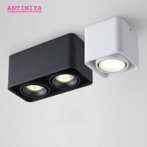 Image 1 - 1 stücke Platz COB LED dimmbare Downlights 10W 15W 20W 30W Oberfläche Montiert LED Decke Lampen spot Licht LED Downlights AC85V 265V