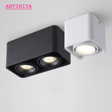Luces descendentes de LED regulable COB cuadradas, 10W, 15W, 20W, 30W, foco de lámparas de techo LED montado en superficie, AC85V 265V, 1 uds.