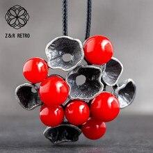 Винтажное длинное ожерелье для женщин, Цветочная бижутерия, женская подвеска, украшение на шею, подарки, массивный подарок для влюбленных, ...