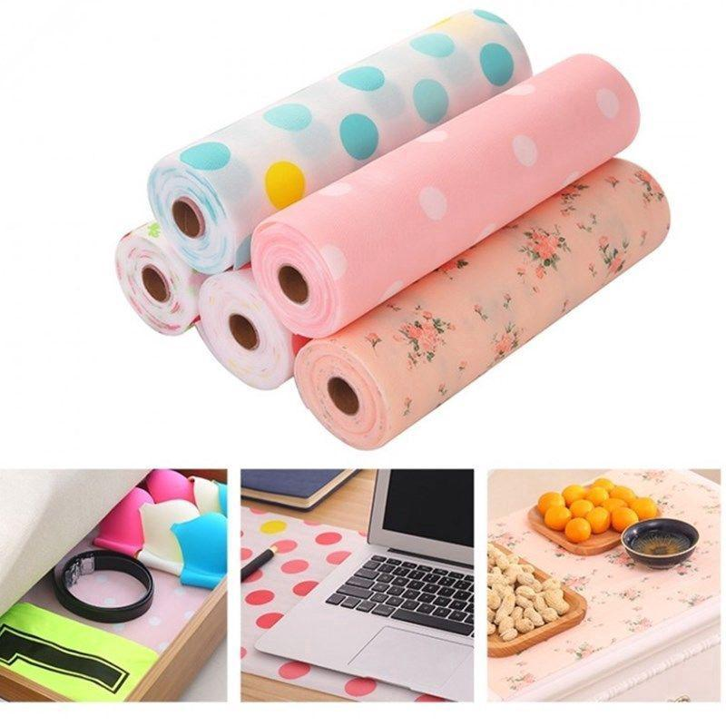 1 Roll Table Drawer Mat Kitchen Gadgets Shelf Liner Contact Paper Waterproof Drawer Paper PET Anti-oil Table Desk Decor