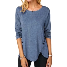 5XL Oversized Women Tops Plus Size Casual irregular Button T Shirt Long Sleeve O-Neck Soft Female Tee Clothes 2021 New Spring
