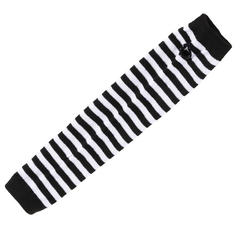 Fashion Women Lady Girls' Stretchy Soft Arm Warmer Long Sleeve Fingerless Gloves - Black White Stripe