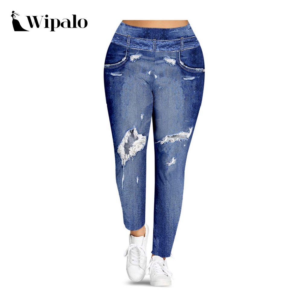 Wipalo Women Plus Size S-5XL Imitation Denim 3D Print Leggings High Waist Sexy Skinny Leggings Ladies Casual Pants Leggins 2019