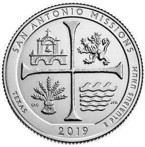 United States 25 Cent National Park Coin No. 49 San Antonio Park 2019 100% Real Original Collection Coins Unc Genuine Coin(China)