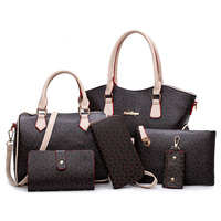 WERAIMJX 2019 New Women Handbags Totes PU Leather Women Composite Bag 6 Pieces Set Fashion Lady Big Shoulder Crossbody Bags