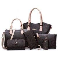 WERAIMJX 2019 New Women Handbags Totes PU Leather Women Composite Bag 6 Pieces Set Fashion Lady Big Shoulder Crossbody Bags