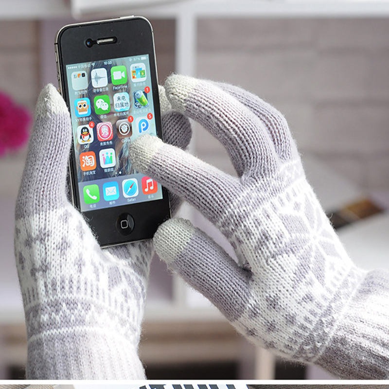 1pair Winter Imitation Wool Jacquard Touch Screen Gloves,igloves For Phone Pad
