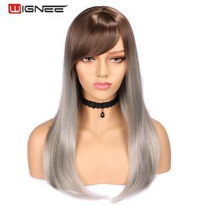 Image 1 - Wignee Hohe Temperatur Faser Gerade Synthetische Perücken für Frauen Durchschnitt Größe Medium Brown Frauen Perücke mit Pony Natürliche Haar Perücken