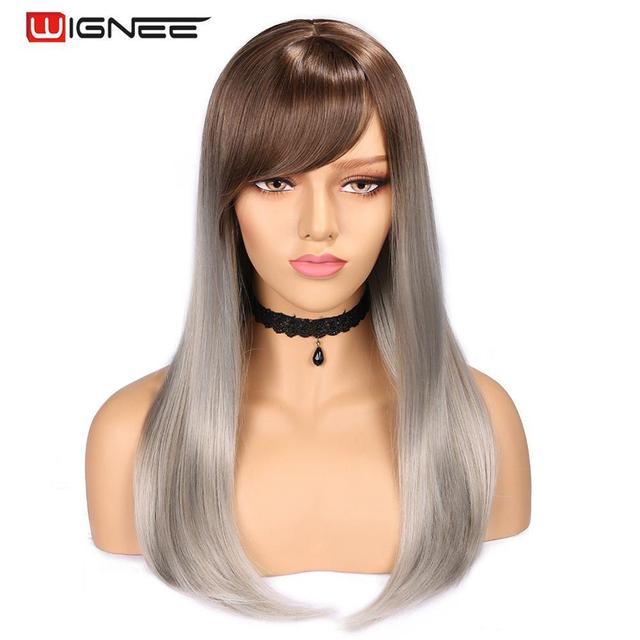 Wignee Hohe Temperatur Faser Gerade Synthetische Perücken für Frauen Durchschnitt Größe Medium Brown Frauen Perücke mit Pony Natürliche Haar Perücken