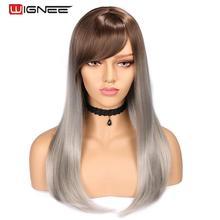 Wignee 여성을위한 고온 섬유 스트레이트 합성 가발 평균 크기 중간 갈색 여성 가발 앞머리 자연 머리가 발