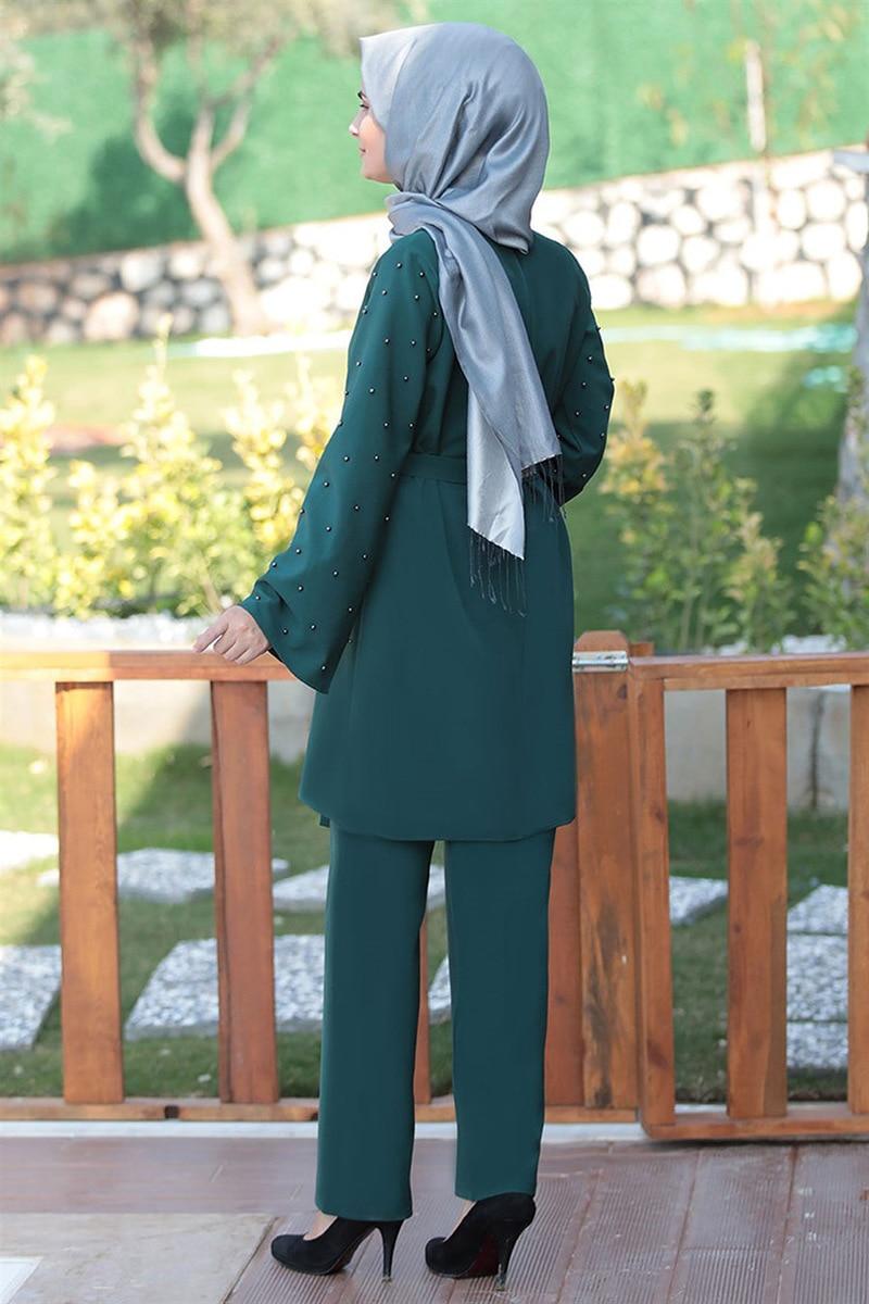 Muslim 2 Piece Sets Women Abaya Dubai Lace up Tops and Wide Leg Pants Kaftan Eid