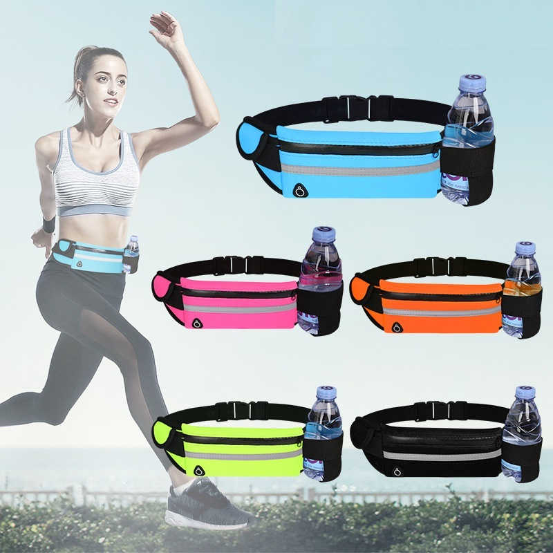 Спортивная поясная сумка для бега, Портативная сумка на пояс для бега, велоспорта, тренажерного зала, с держателем для бутылки для воды, пояс...