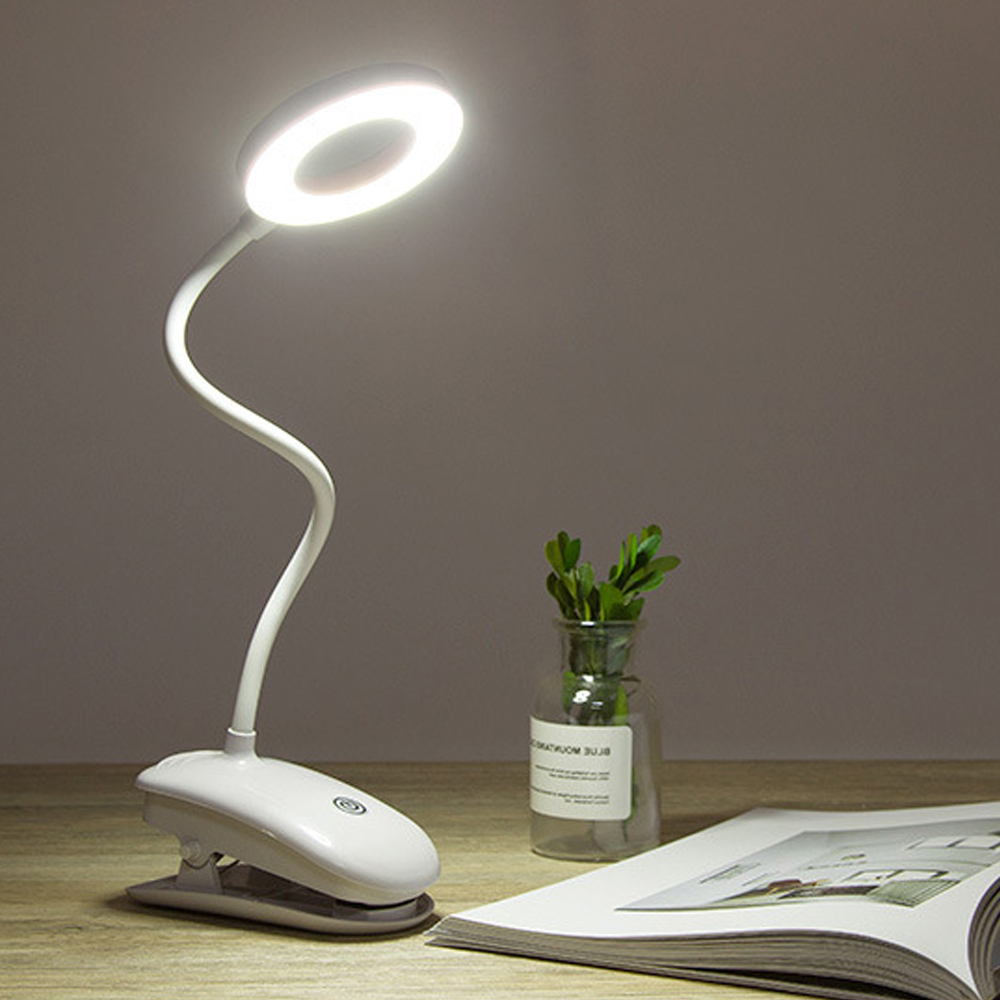 LED Table Lamp Touch On/off Switch 3 Modes Clip Desk Lamp 7000K Eye Protection Desk Light Dimmer Rechargeable USB Led Table Lamp