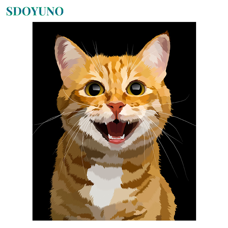 SDOYUNO Painting By Numbers 60x75cm DIY Pictures By Numbers Frameless On Canvas Room Decoration Animals Cats For Unique Gift