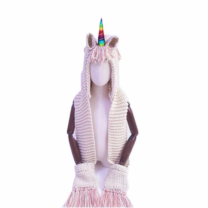 2019 ถัก Rainbow Unicorn หมวกนุ่ม 2 กระเป๋า Skullies Beanies หมวกผ้าคลุมไหล่ผ้าพันคอชุดเด็กอบอุ่นหมวก Bonnet