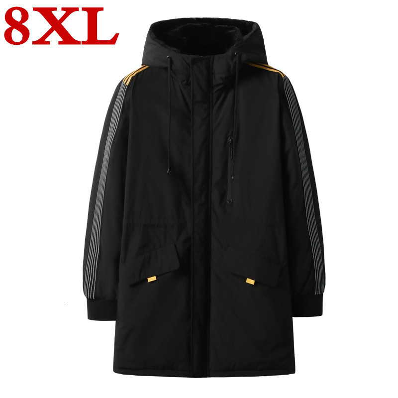 New Plus Size 8XL 7XL 6XL Winter Cotton-padded Parkas Clothes Long  Increase Enlarge Loose Coat The Fat Jacket Overcoat