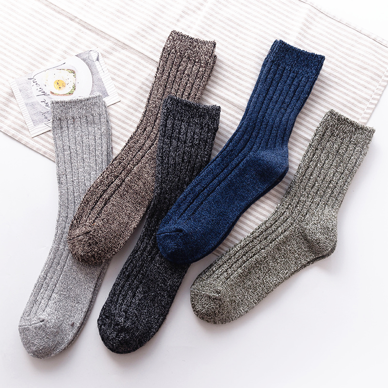 New Men's Winter Padded Warmth Harajuku Retro High Quality Fashion Casual Wool Material Socks Large Size  Business Cotton Socks