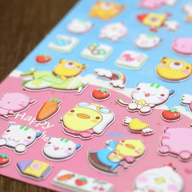 3D Дневник кота наклейка в виде животного Kawaii скрап-выпуклые наклейки игрушки для детей с персонажами из мультфильмов детское вознаграждение Смешные книги для девочек Стикеры s