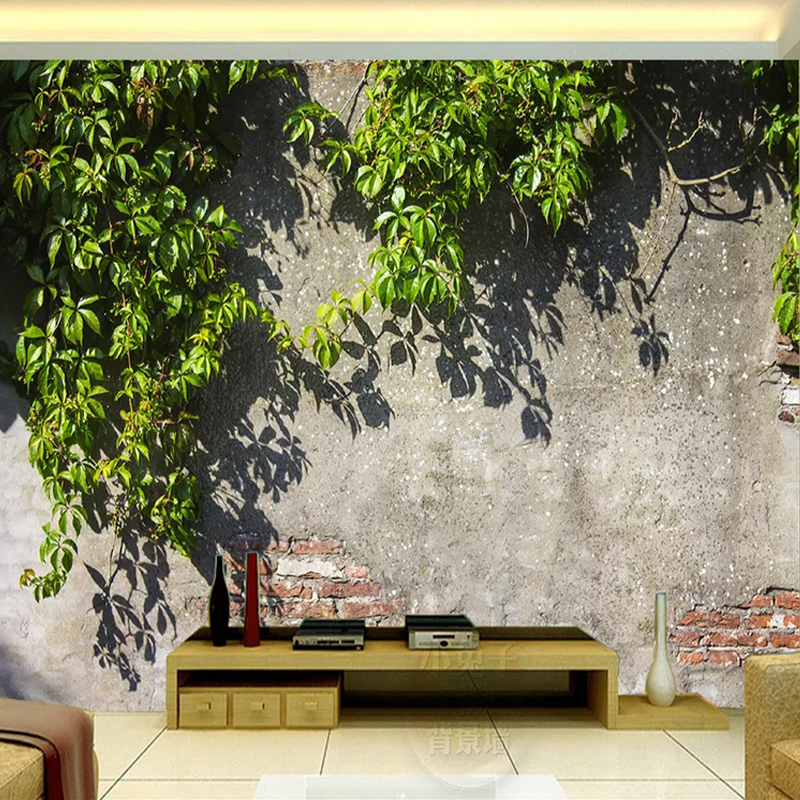 Dropship Photo Wallpaper 3D Green Branch Brick Wall Murals Restaurant Background Wall Decor Waterproof Papel De Parede Sala