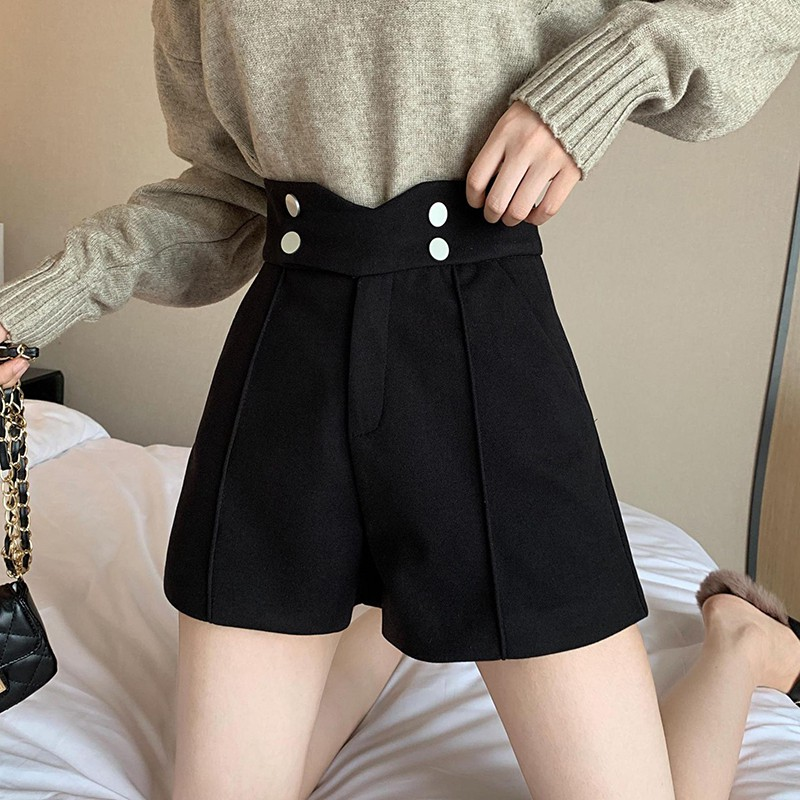 M Shorts Women Solid Color Casual Wide Leg Clothes Woolen Double Pocket High Waist Autumn Winter Wool Shorts