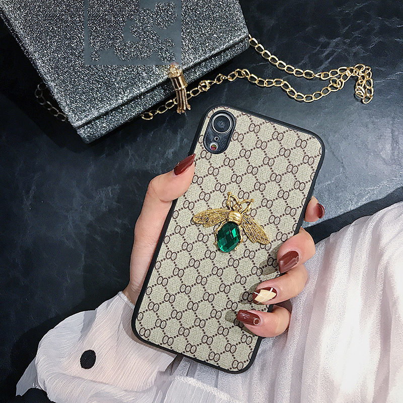 Luxury 3D Gemstone Bee Fashion Brand Phone Case For iPhone 7 8 Plus XR Xs 11 12 Pro Max For Samsung S20 S10 Plus Note 8 9 Cover