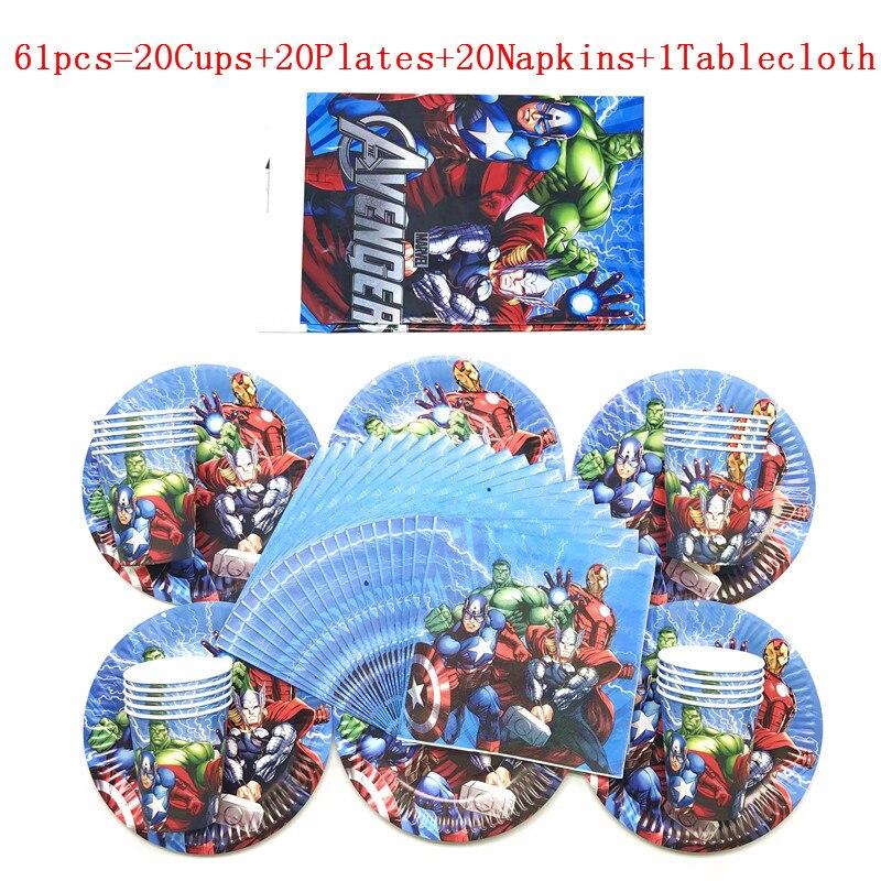 61/41 pçs super-herói vingadores tema crianças placa de aniversário copo festa de decoração conjunto de suprimentos de festa de aniversário do bebê evento fontes de festa