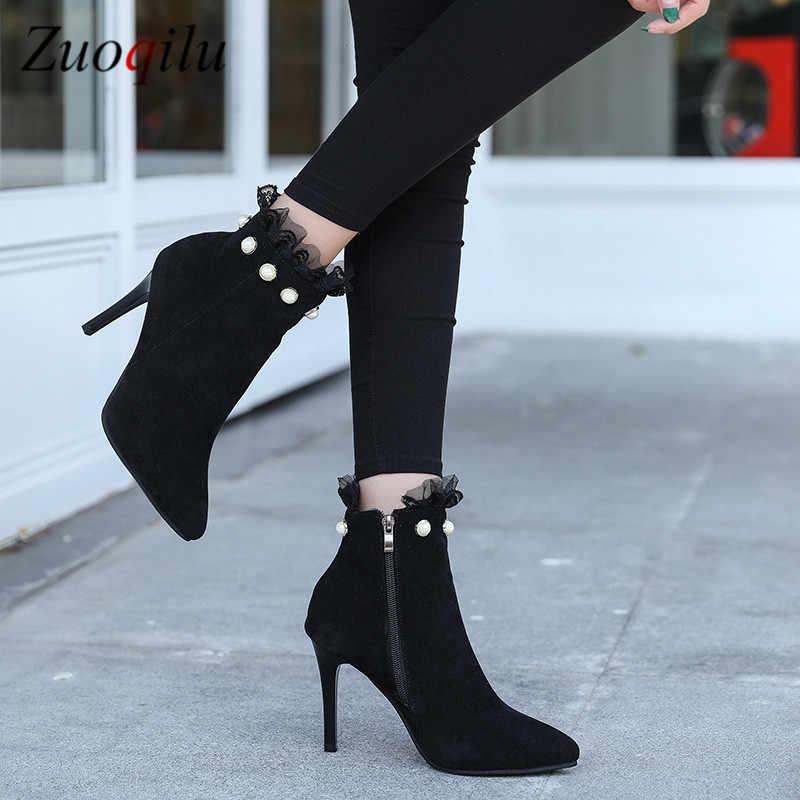 ลูกไม้ข้อเท้าเพิร์ลรองเท้าผู้หญิงรองเท้าส้นสูงรองเท้าผู้หญิงฤดูหนาวลำลองแต่งงานฤดูหนาวรองเท้า # สีดำ