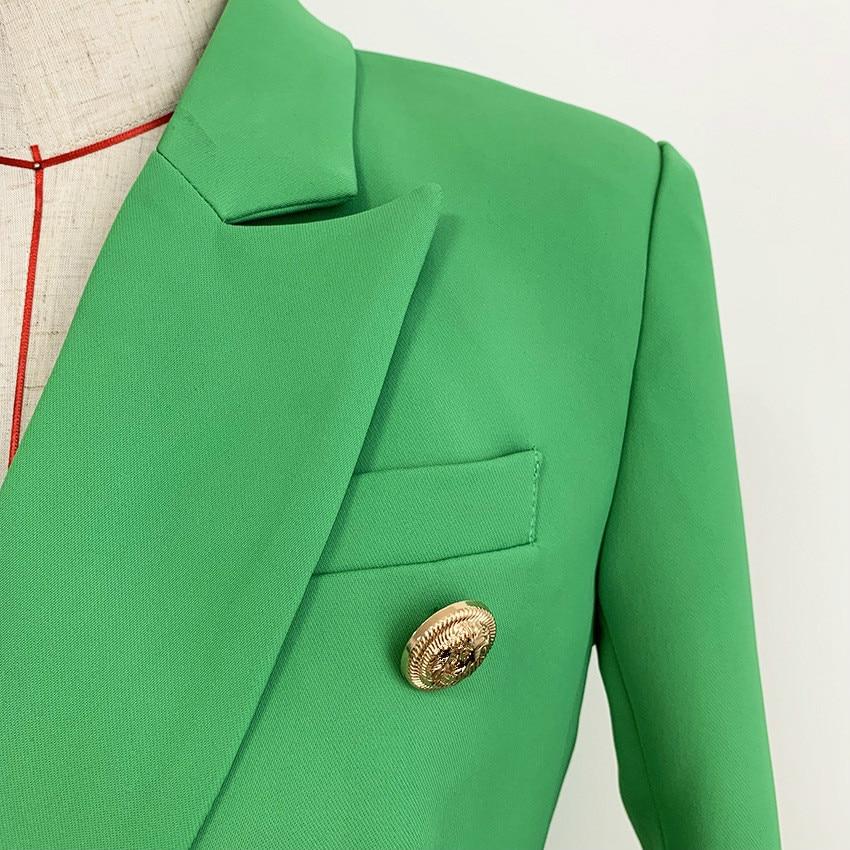 3XL Women Blazer Small Coat High Quality Female Coat Metal Buckle Double Breasted Slim Green Jacket Women Blazer Mujer 2020