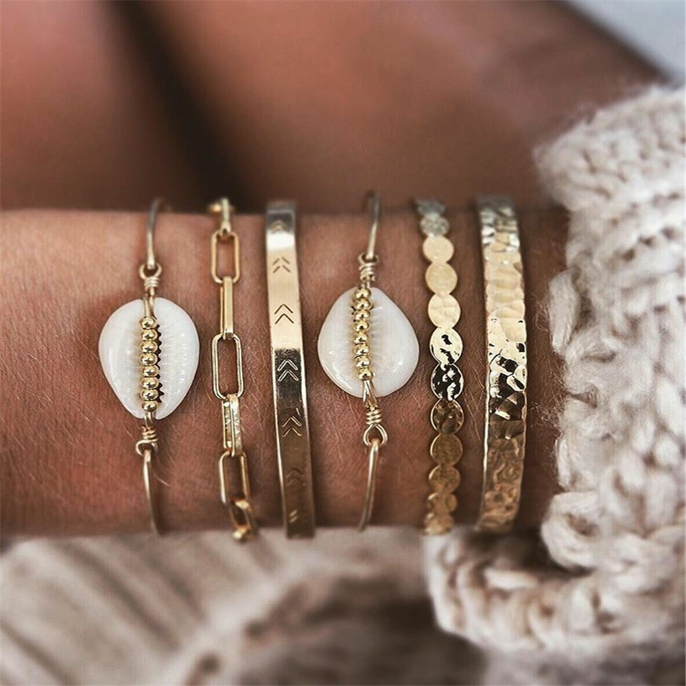 New Vintage Gold Geometric Round Chain White Stone Shell Fashion Bracelets For Women Boho Multiple Layers Bracelet Set Jewelry