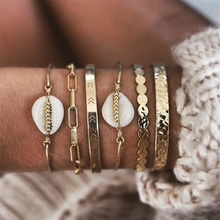 New Vintage Gold Geometric Round Chain White Stone Shell Fashion Bracelets For Women Boho Multiple Layers Bracelet Set Jewelry