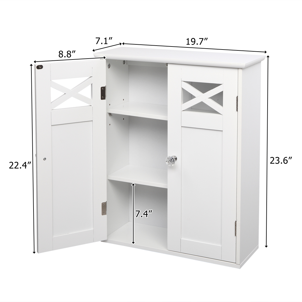 【US Warehouse】Double Door Fork Type Bathroom Wall Cabinet White